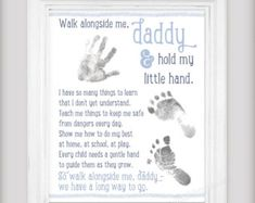 Walk Alongside Me, Daddy – & DIY Printable File – Personalize with your child's prints Father's Day Gift! Walk Alongside Me, Daddy – & DIY Printable File – Personalize with you 1st Fathers Day Gifts, Fathers Day Art, Gifts For New Dads, Fathers Day Crafts, Parent Gifts, Diy Father's Day Gifts From Baby, Baby Crafts, Crafts For Kids, Diy Father's Day Crafts