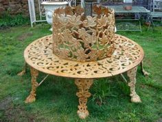 awesome iron tree bench