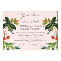 Festive Florals - Baby Pink + Olive / Apple Green Custom Invite
