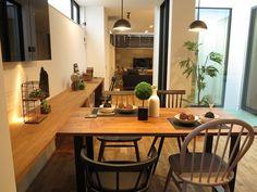 ウォールナット無垢材のダイニングテーブルとブラック色とグレー色のチェアを組合せたコーディネート事例(INTERIOR SHOP BIGJOY インテリアショップBIGJOY)