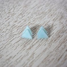 Blue Triangle Polymer Stud Earrings by LittlestOven on Etsy
