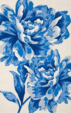 Two giant blossoms make a bold fashion statement in the Porcelain Floral rug from Isaac Mizrahi New York Collection Rugs. Inspired by blue and white Chinoiserie motifs in antique Chinese porcelain, th