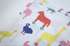 Little Tykes Animal Pals Wagon N' Friends RARE Flat Sheet - Coloful Animals On Wheels Fabric  The Pink Room  160921 by ThePinkRoom