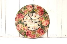 Large Wall Clock Red Roses Country Decor by SelenarteDecoupage, £30.00