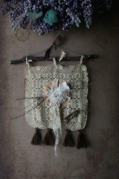 Woodland Folk Art Tapestry Banner. Rustic French Farmhouse Shabby Decor. Shabby French Chic. Spring Bird nest. Garden Wedding by 3vintagehearts on Etsy
