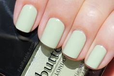 Bossy Boots is a beautiful light pistachio green creme nail polish. All of the cremes in this collection were a little streaky, but settled smooth after 3 coats.