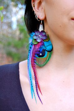 SKYE BLOSSOM Peacock Feather Earrings SALE by FeatherPixie on Etsy, $32.00