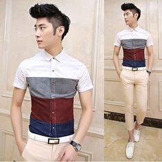 2014 Summer Men Fashion Clothing Colorblock Short-leeve Fancy Shirt Slim Stylish Men Shirts Promotion $26.99