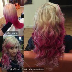 #pink #ombre #colormelt #beforeandafter #extensions