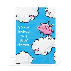 Flying Piggy Baby Shower invite from Zazzle.com