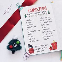 Masha ( Christmas movie list in my Bullet Journal Christmas Bullet Journal page ideas, holiday-themed doodles tutorials, and stationery. The ultimate guide to adding Christmas spirit to your bujo. Bullet Journal Christmas, December Bullet Journal, Bullet Journal Notebook, Bullet Journal Ideas Pages, Bullet Journal Inspiration, Christmas Movies List, Christmas Gift List, Christmas Time, Christmas Decor