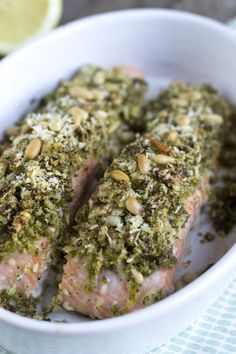Salmon with pesto crust - Brenda Cooks! Fish Recipes, Seafood Recipes, Dinner Recipes, Healthy Diet Recipes, Healthy Meals For Kids, Good Food, Yummy Food, Fish And Meat, Seafood Dinner