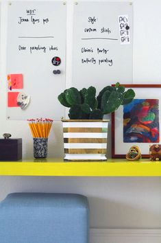 yellow desk with cacti plant in striped pot diy// Jenny Komenda Gold Planter, White Planters, Diy Planters, Space Interiors, Colorful Interiors, Yellow Desk, Blue Yellow, Little Green Notebook, Paint Brass