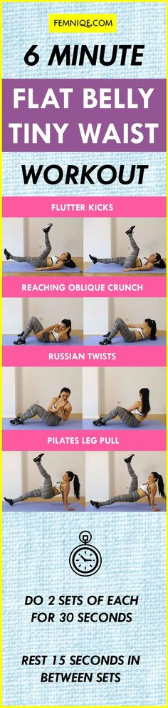 6 Min Tiny Waist Shaper: Get A Smaller Waist & Flat Belly - Page 5 of 5 - Femniq. Ab Routine, Abs Workout Routines, Workout Plans, Core Workouts, Workout Diet, Fitness Workouts, Butt Workout, Yoga Fitness, At Home Workouts