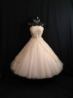 Vintage 1950's 50s Bombshell STRAPLESS Apricot Peach Pink Tulle Lace Ribbon Sequins Circle Skirt Party Prom Wedding DRESS Gown. $599.99, via Etsy.