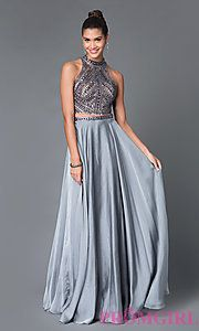 Buy Long Open Back High Neck Two Piece Dress E1940 at PromGirl