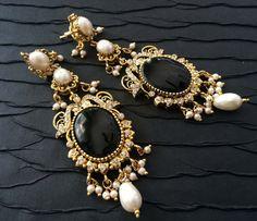 Gioielli di oro nero vittoriano orecchini di taneesijewelry