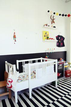 Zwart-wit kinderkamer // Black and white kids room (My Secondhand Life)