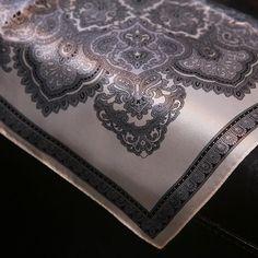 Luxurious Silver Paisley Print Square Silk Scarf