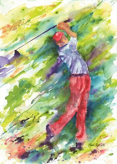 Golfer Blasting Out of the Sandtrap Swinging Club Abstract Contemporary Watercolor Painting Golf Club Art, Golf Art, Golf Painting, Watercolor Paintings, Acrylic Paintings, Watercolours, Sports Art, Art Photography, Street Art