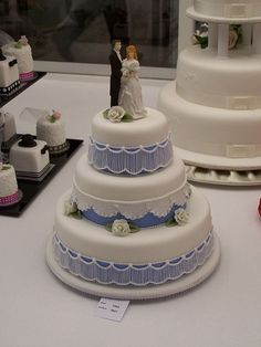 Blue and white wedding cake!