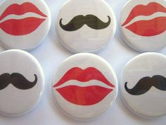 Gender Reveal Black Mustache Red Lips  Party by PutOnYourPartyCap, $10.00