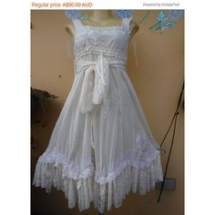 20%Off Vintage Inspired Lagenlook White Cotton & Lace Dress Smaller to... ($27) ❤ liked on Polyvore featuring grey and women's clothing
