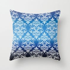 Royal Blue Pattern Pillow cover Retro Pillow Throw by NikaLim