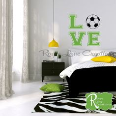 Soccer Ball with Word Art for Girls Room by Royce Lane Creations.