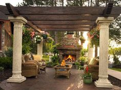 Backyard Landscaping -love the chimney for the north wall!