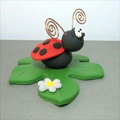 Ladybug polymer clay Cake Topper decoration figurine Made To Order Polymer Clay Cake, Polymer Clay Figures, Polymer Clay Animals, Polymer Clay Miniatures, Fimo Clay, Polymer Clay Creations, Polymer Clay Crafts, Play Clay, Clay Figurine