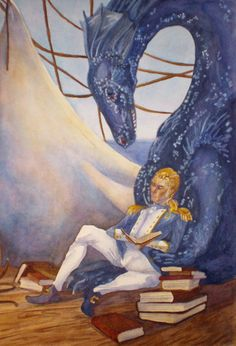 Temeraire the dragon and Laurence the former sea captain. They like books. From Naomi Novik's Temeraire series. Read it! It's awesome!