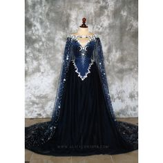 Night Godess Elven Corset Dress Gothic Witch Wedding Gown Fairy... ($880) ❤ liked on Polyvore featuring fantasy gown and gown