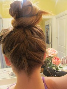 Upside down french braid into a bun - really cool but id like a smaller bun