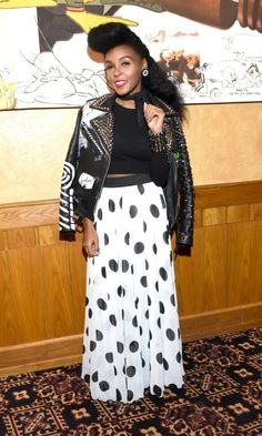 Electric style! Janelle Monae pieced together her black and white ensemble with a studded leather jacket during the screening of Moonlight during the Telluride Film Festival in Colorado.