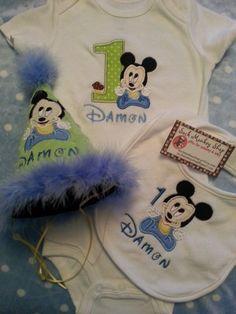 Baby Mickey 1st Birthday Personalized Onesie, Hat, and Bib Set | sockmonkeyshop - Children's on ArtFire