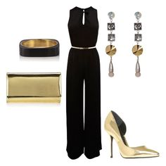 Women's outfit ideas - date night - girl's night out - club outfit - black and gold - women's jumpsuit - gold clutch - gold stilettos - metallic gold