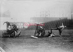 "Auto Polo - Four photographs each showing action shots of a ""auto polo"" match from the early 1900's. Auto polo was played using cars instead of horses. Perfect for Polo Club, Sports Bar, Man Cave. Comedy on wheels #VintageCar, #ModelT"