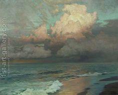 """Frederick Judd Waugh - America (1861 - 1940), Marine Landscape Artist, Oil, """"Ebbing Waters"""" (waves, sea, ocean, water, beack, sky)"""