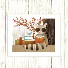 raccoon art print  The Bookish Forest: by TheFoxandTheTeacup