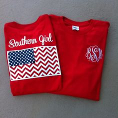 tinytulip.com - Monogrammed Southern Girl Chevron Flag Tshirt , $32.50 (http://www.tinytulip.com/monogrammed-southern-girl-chevron-flag-tshirt)