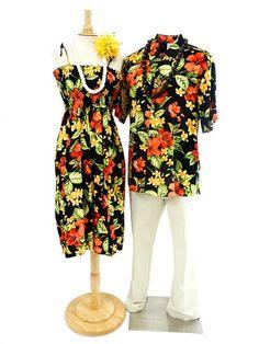 Men's Hawaiian Shirt [Hibiscus&Plumeria/Black]  - Men's Hawaiian Shirts - Hawaiian Shirts   AlohaOutlet SelectShop