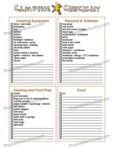 KidS Summer Camp Checklist   Camping Stuff