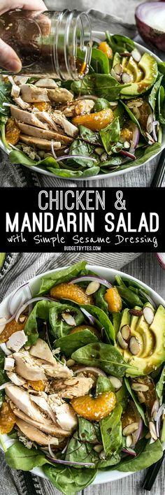 This meal-worthy Chicken and Mandarin Salad boasts sweet mandarin oranges, creamy avocado, crunchy almonds, and homemade sesame dressing.