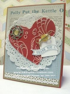 Lots of different items used in Natasha's vintage card! Itty Bitty Banners & its framelits, Tea for Two dsp, Delicate Details Lace tape, Tea Lace paper doilies, Designer Builder brad, & more.