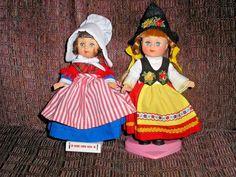 """2 Vogue 8"""" Ginny Dolls with stands Switzerland and ? #Vogue #Dolls"""
