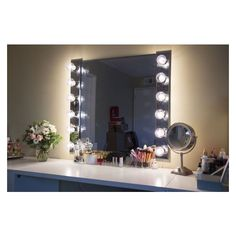 Chende frameless hollywood tabletops lighted makeup vanity mirror diy lighted vanity mirrors liked on polyvore featuring home bed bath glam mirrormakeup aloadofball Image collections
