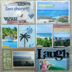 Pocket page LO. The arrow, and laugh word is acrylic from Clear Scraps. I used beads on the arrow. For the laugh word I used alcohol inks. I stamped the compass. Cozumel, Scrapbooking, Scrapbook Layouts, Travel Scrapbook, My Stamp, Project Life, Life Is Good, Gallery Wall, Alcohol Inks