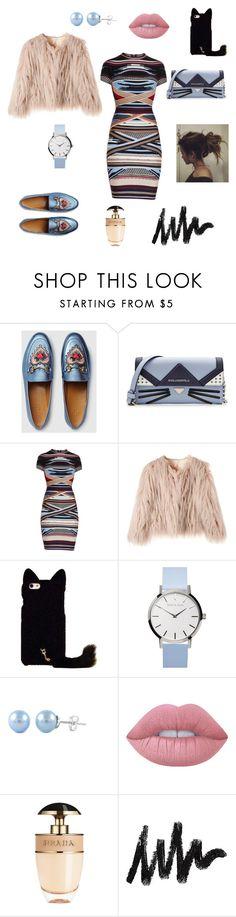 платье by malishevan on Polyvore featuring мода, Hervé Léger, Gucci, Karl Lagerfeld, Lime Crime and Prada