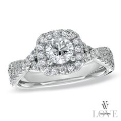 Vera Wang LOVE Collection 1 CT. T.W. Diamond Frame Engagement Ring in 14K White Gold - Zales